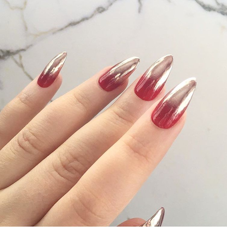 ombre chrome x red nails hot