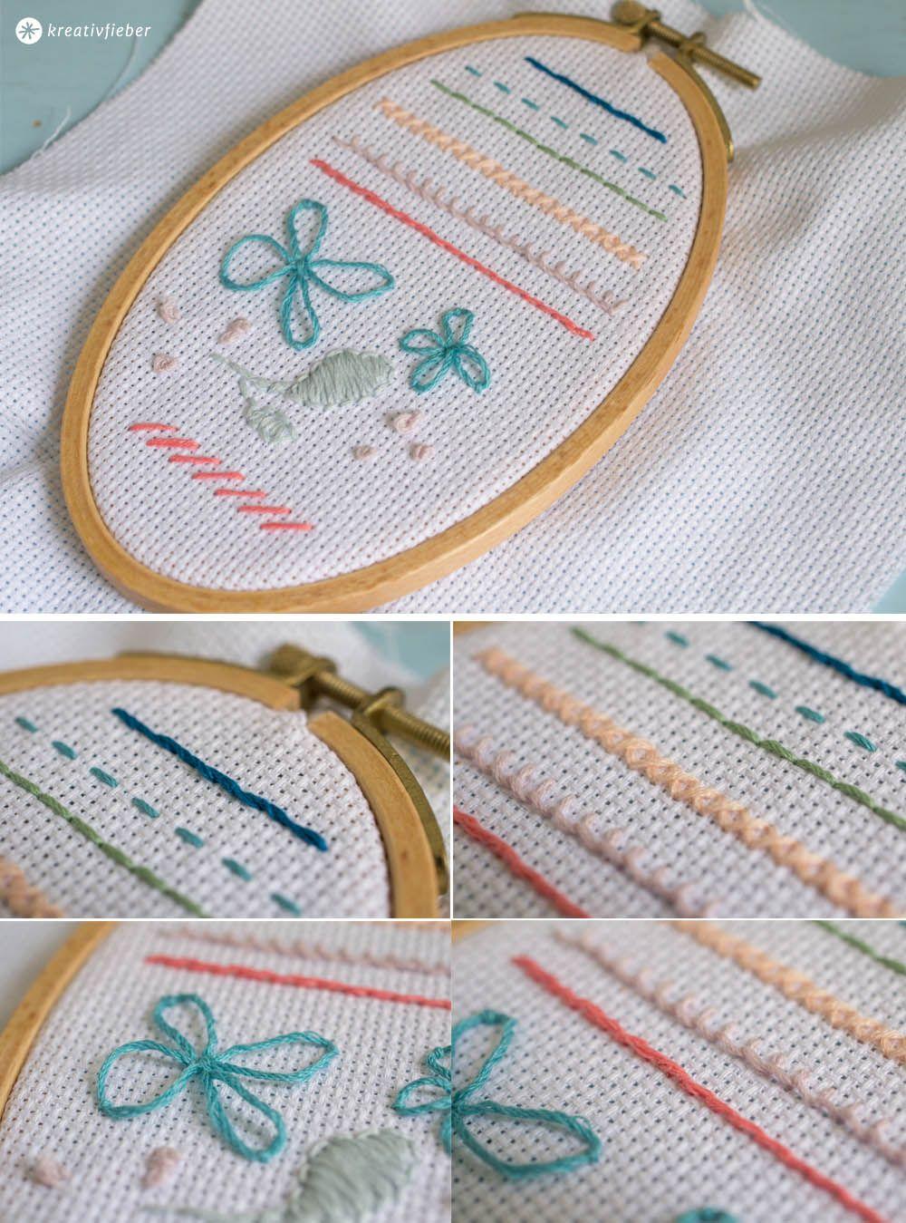 Einfache Grundtechnik Furs Sticken Kreativfieber Stickerei Fur Anfanger Sticken Und Nahen Sticken Lernen