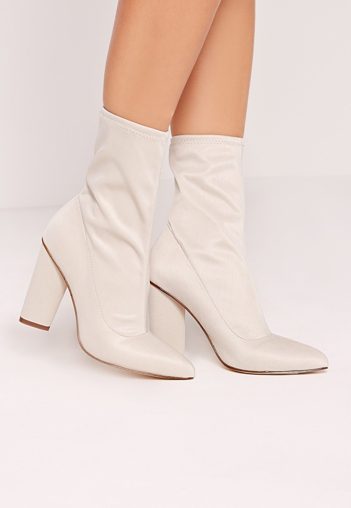 7f553de2242 Missguided - Pointed Toe Neoprene Heeled Ankle Boots Cream ...