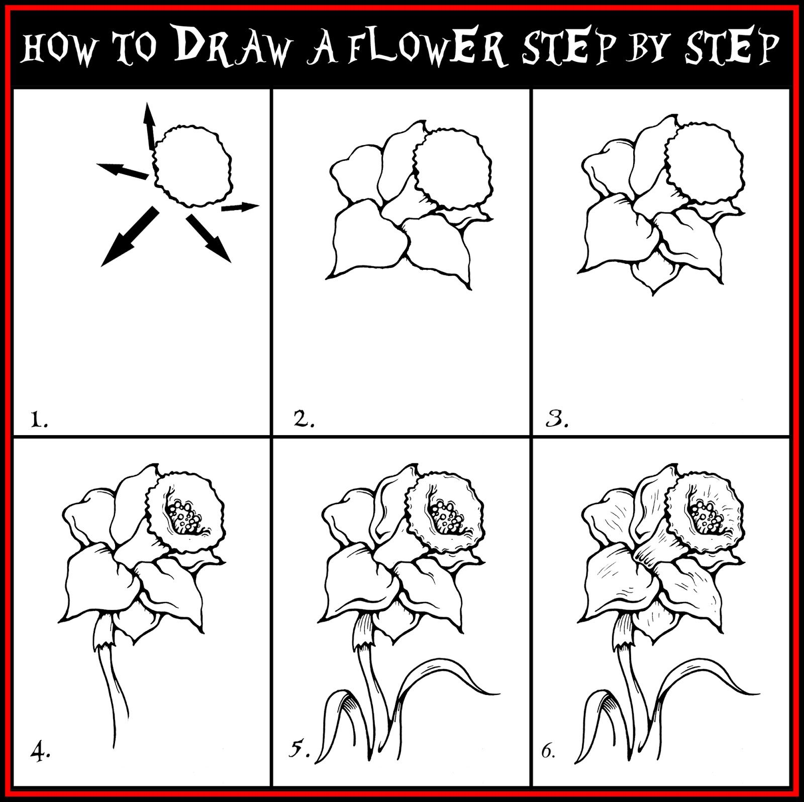 Draw Roses Step By Step  Daryl Hobson Artwork: How To Draw A Flower Step