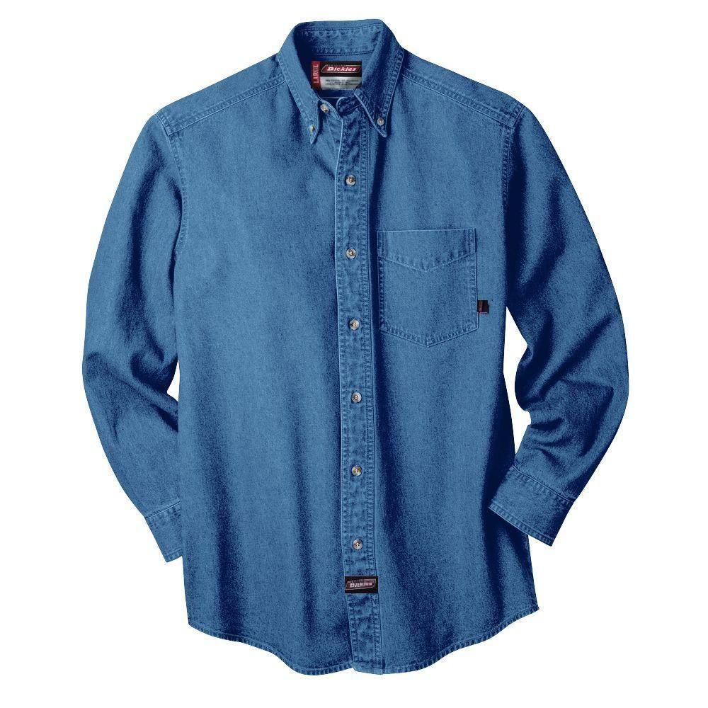 ececb9004e Dickies XX-Large Long Sleeve Denim Shirt Blue-GL300SNB 2X - The Home Depot