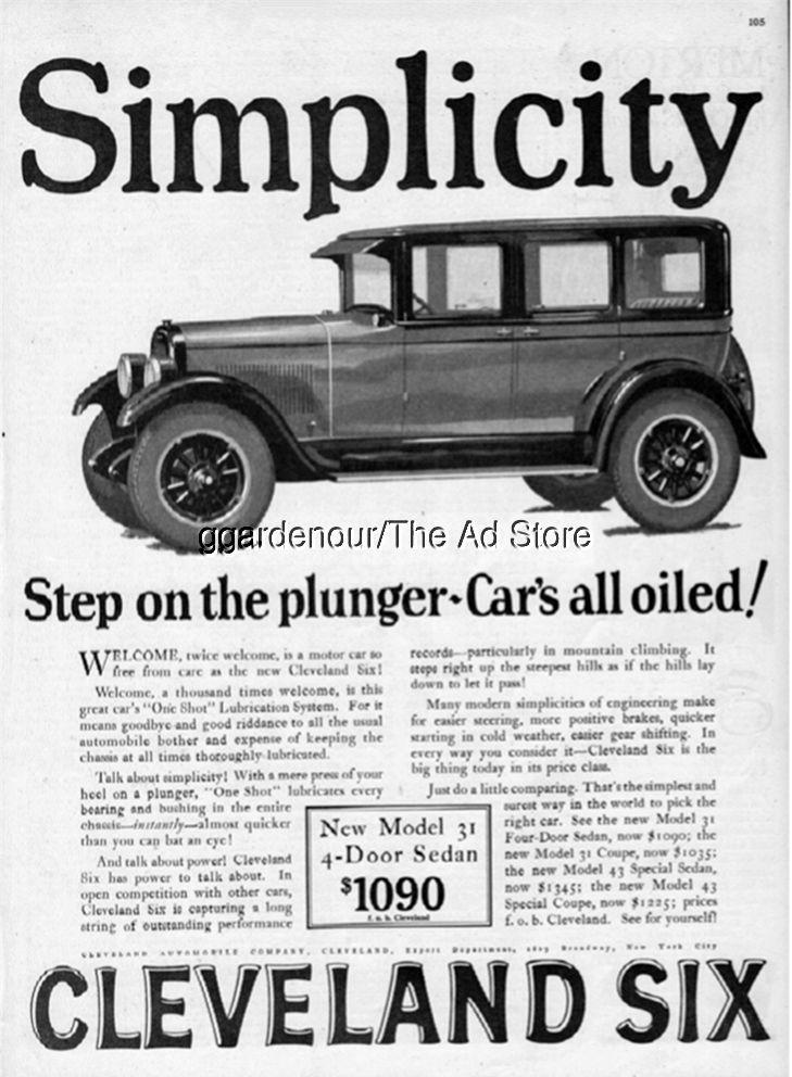 1926 Cleveland Six Model 31 4-Door Sedan Vintage Motor Car ...
