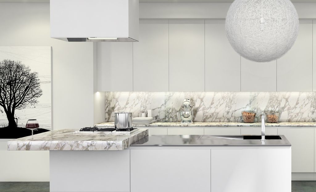 Contemporary Kitchen with Flush, Arabescato Carrara Marble - contemporary kitchen hoods