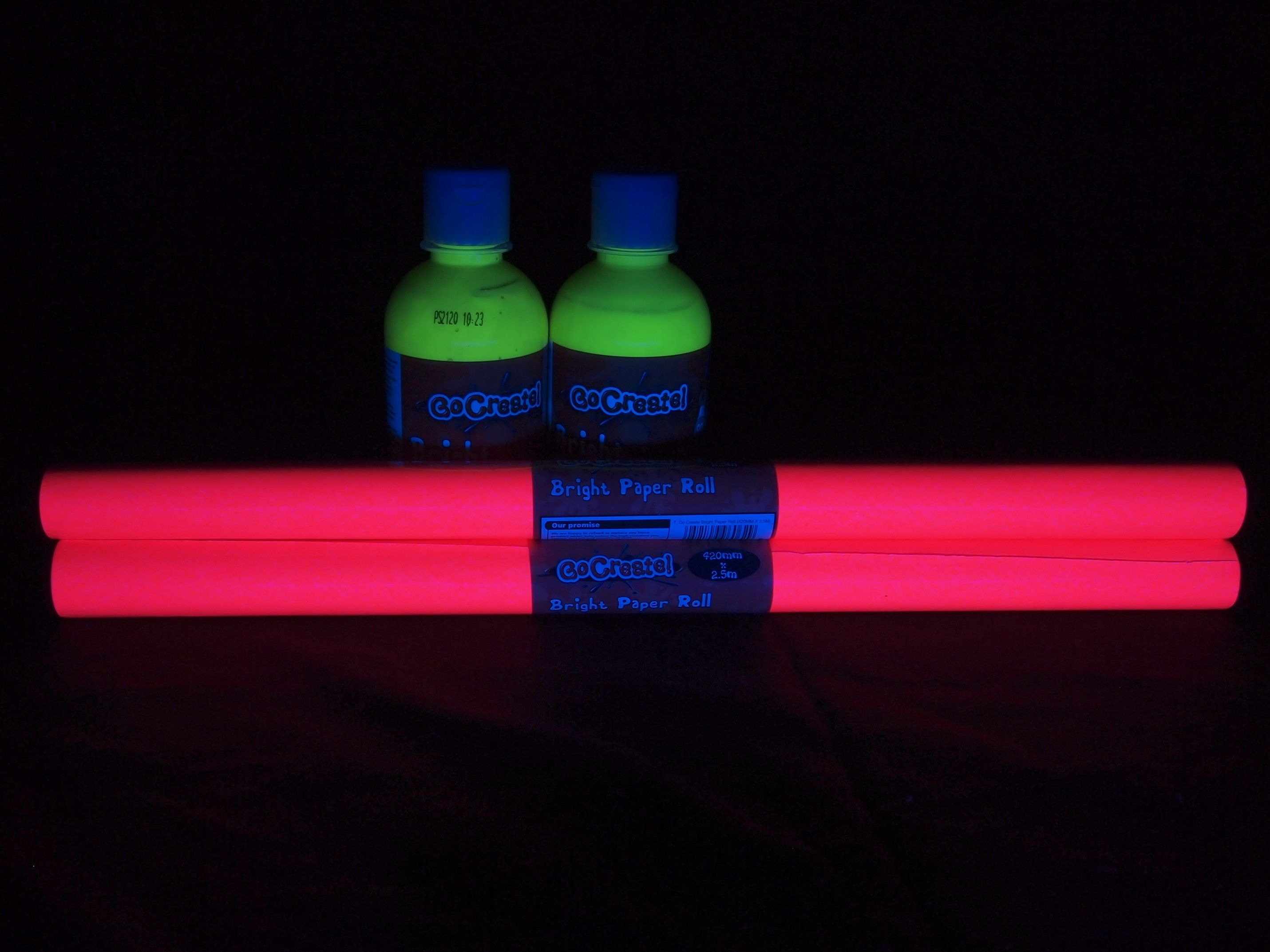 Cheap fluorescent paint and paper roll from Tesco Great for Black