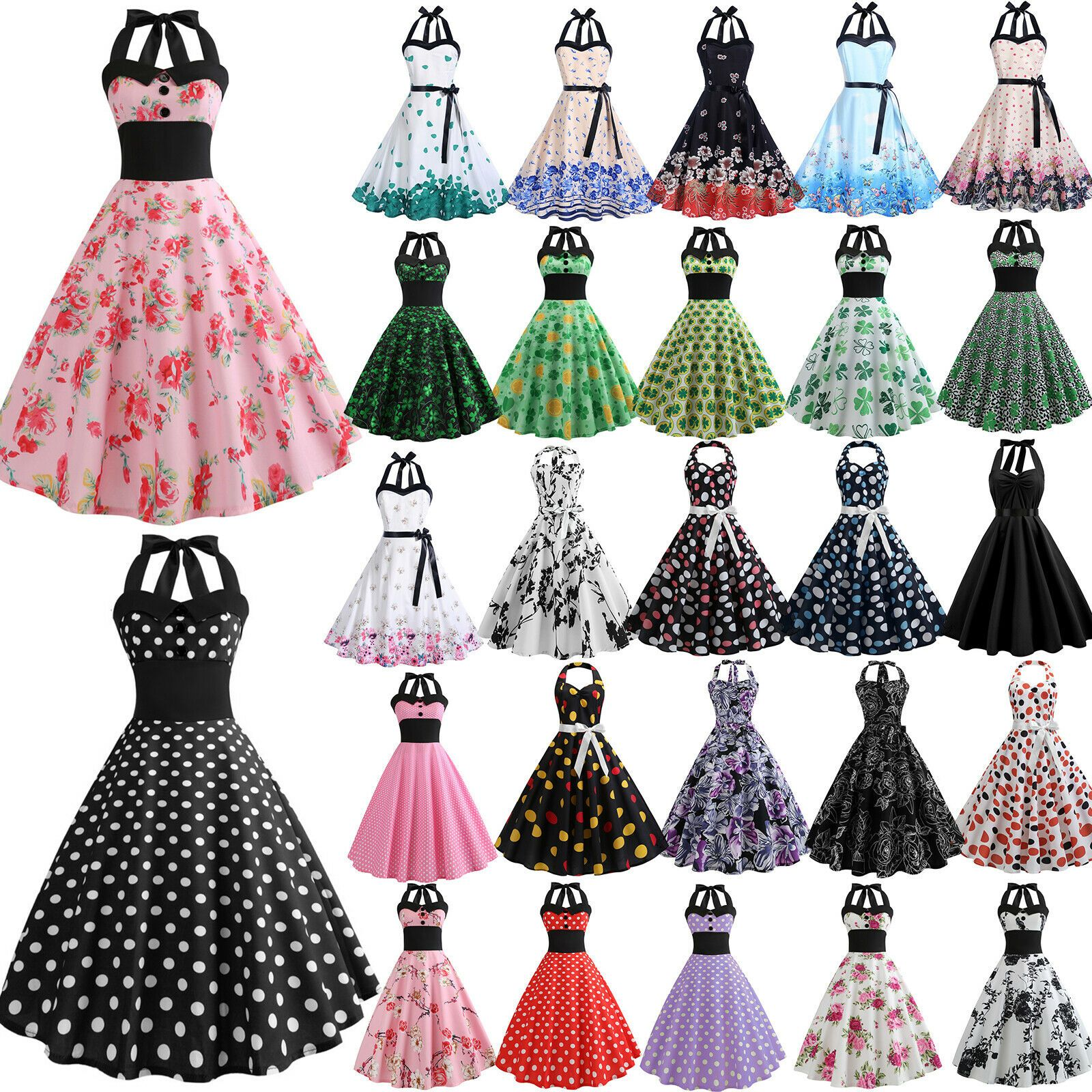 Damen Kleid Rockabilly Petticoat Sommer Retro 50er Cocktailkleid Freizeit Party