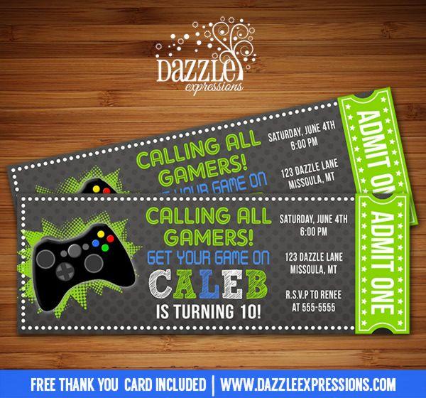 Printable Chalkboard Video Game Ticket Birthday Invitation - Birthday party invitation videos