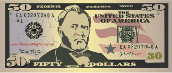 A realistic printable fifty dollar bill with the image of Ulysses S