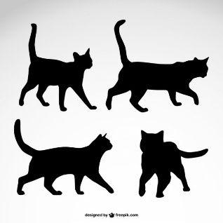 Silhouetten Vektoren Fotos Und Psd Dateien Kostenloser Download Katzen Vector Katzen Design Schwarze Katze Silhouette