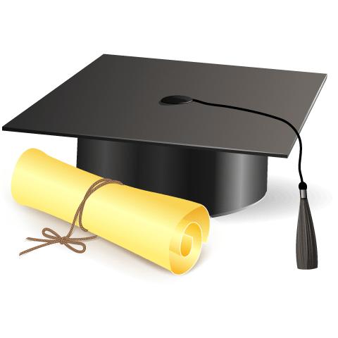 Birrete De Graduacion Imagen Vectorial De Un Birrete De Graduacion Y Diploma Recurso Grafico Birrete De Graduacion Siluetas De Graduados Gorro De Graduacion