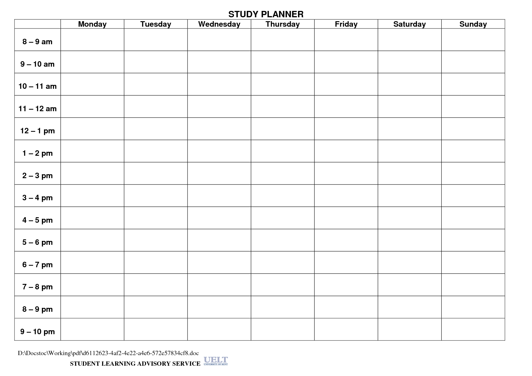 Study Planner Template Paper Crafty Printables – Daily Planning Template