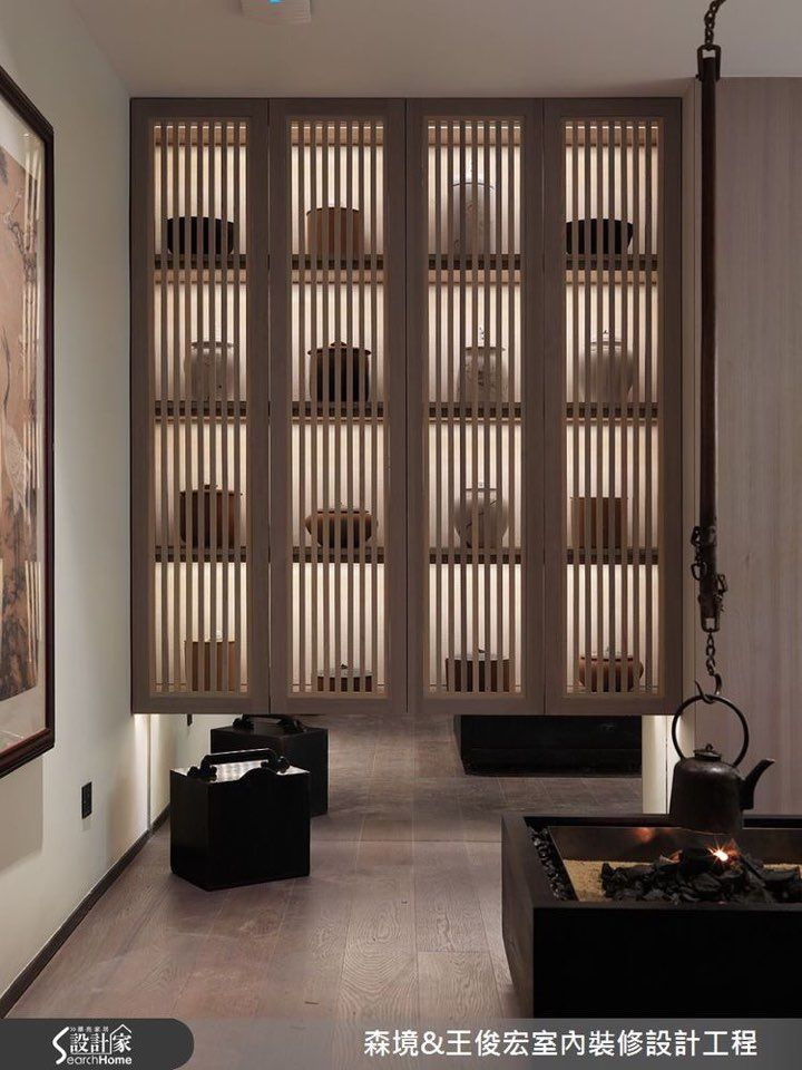 Modern Chinese Interior, Japanese Interior Design, Book Cabinet, Living  Room Walls, Tea Houses, Study Rooms, Bookcases, Madeira Natural, Closet  Shelving
