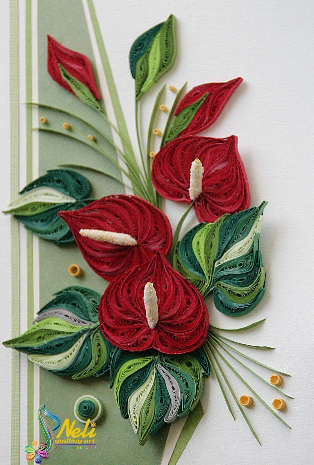 Neli Quilling Art Anthurium Bouquet Paper Quilling Pinte