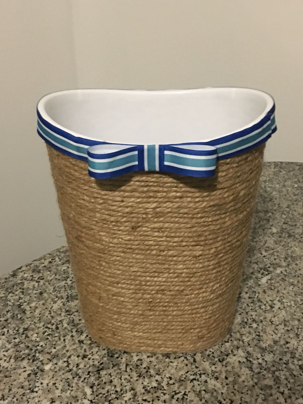 Nautical Baby Nursery Trash Can Using Dollar Hot Glued The Rope On To And Added A Decorative Ribbon Top Edge