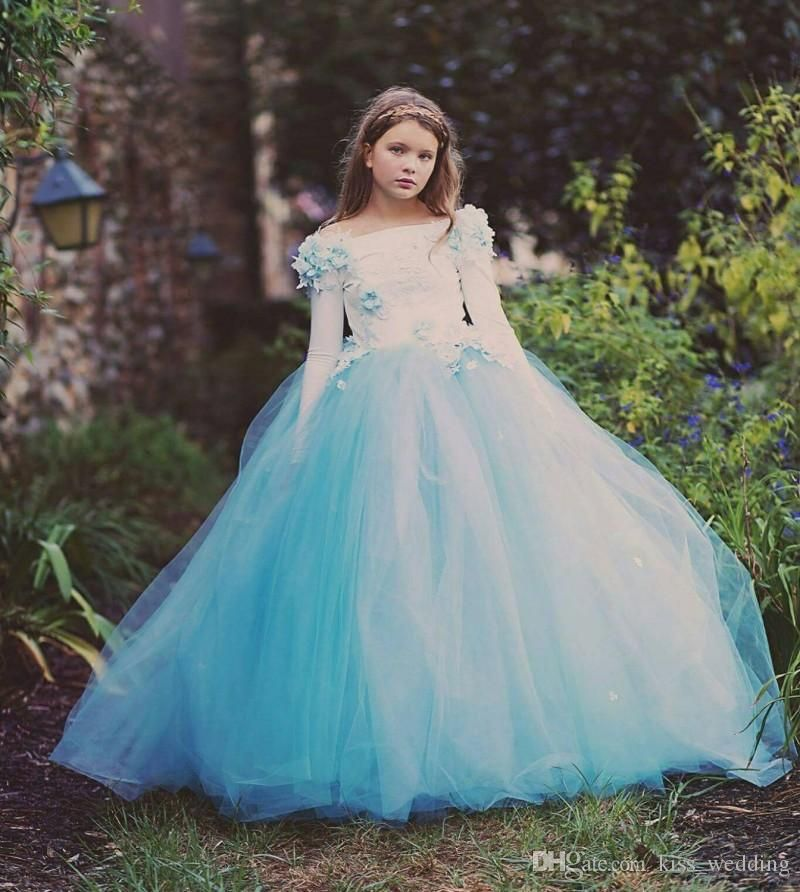 Cute blue tulle little girls pageant prom dresses long