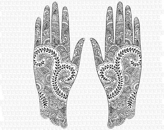Digital Collage Sheet Hindu Mehndi Design Pattern Henna Tattoo