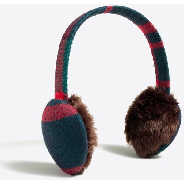 J.Crew Plaid earmuffs (46.035 COP) ❤ liked on Polyvore featuring accessories