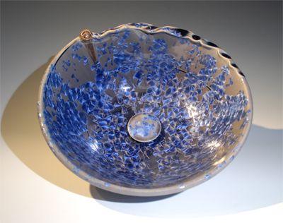 Blue Custom Vessel Sink, Crystalline Glaze Unique, Artistic Unusual Shape  Top View, Custom