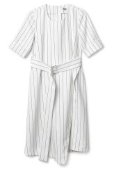 <p>This is an assymetric dress with stripes all over and zip closure. It has short sleeves and a waistband. In a size small it measures 107 cm in back length and 88 cm around chest. The sleeve length is 30,5 cm.</p>