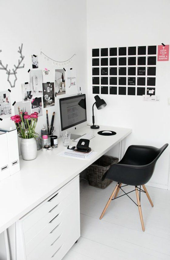 arbeitszimmer einrichten wandgestaltung schwarz weiß, Innedesign