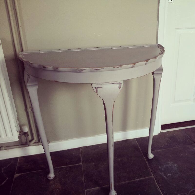 Half Moon Table Distressed And Painted In Paris Grey
