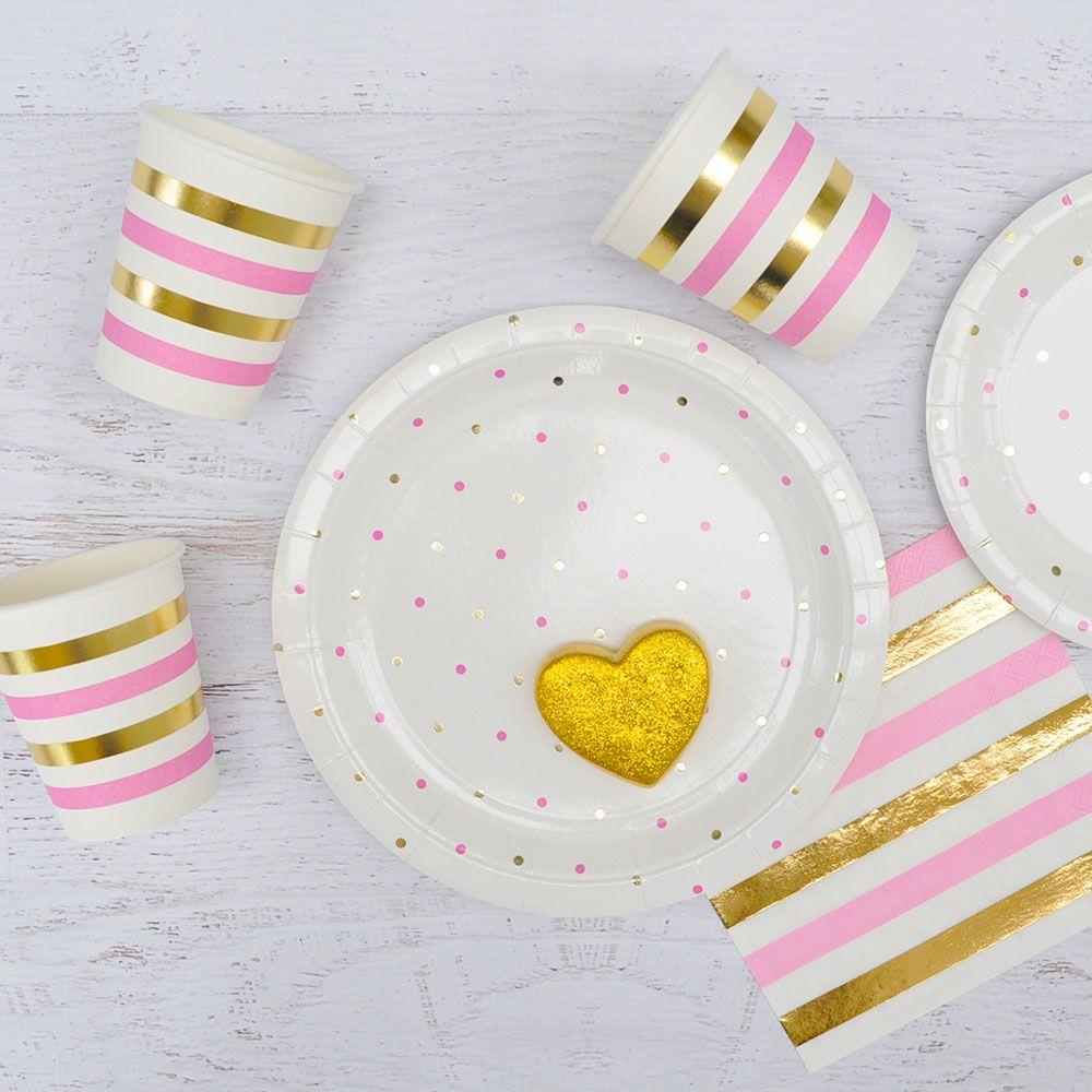 anniversaire rose et or vaisselle jetable gobelet assiette serviette anniversaire rose. Black Bedroom Furniture Sets. Home Design Ideas