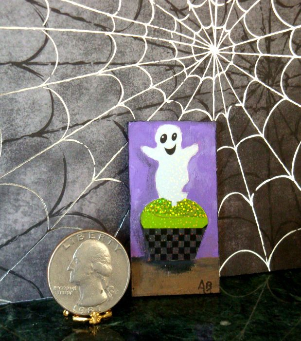 Dollhouse Miniature Halloween Wooden Plaque Ghost Cupcake by Ashley 8yr old in Dolls & Bears, Dollhouse Miniatures, Home Décor | eBay