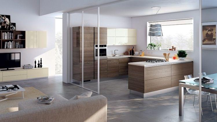 moderne Küche mit Essbereich durch Schiebetüren aus Glas - schiebetür für küche