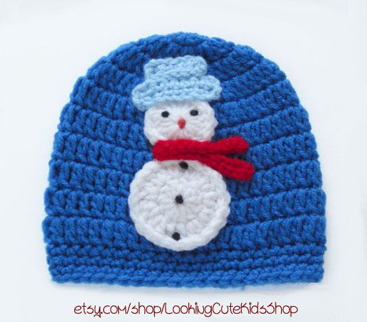 Cheery adorable snowman hat  for a 3 to 6 month baby. Available here etsy.com/listing/173172445/baby-hat-3-to-6-month-old-baby-beanie