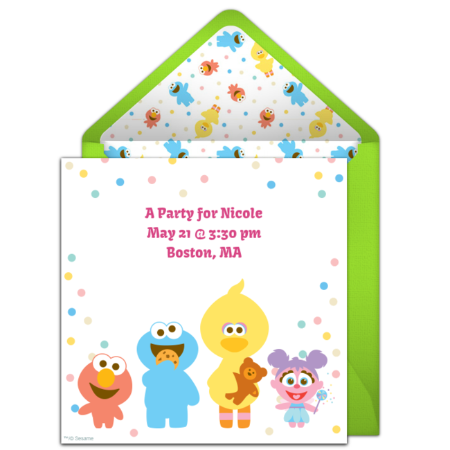 Customizable Free Baby Sesame Street Pals Online Invitations Easy To Personalize And Send For A Shower Or 1st Birthday