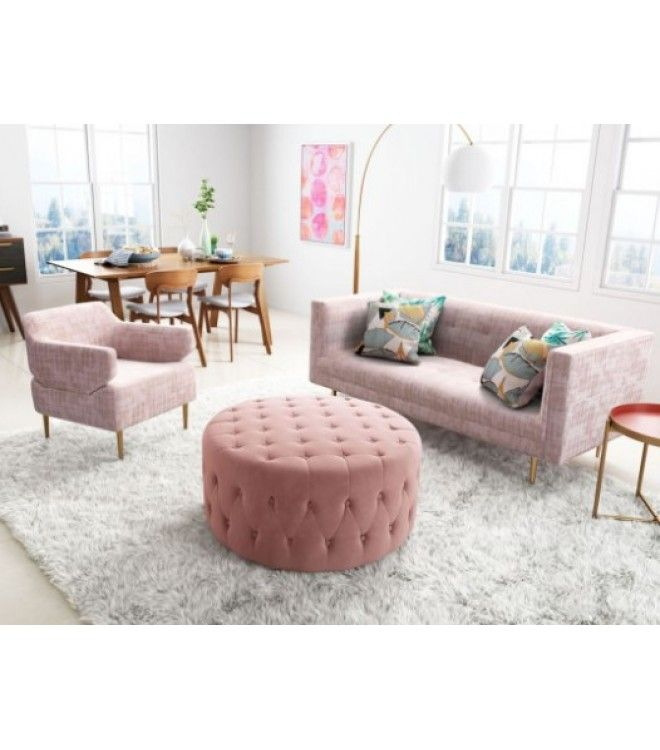 Pink Velvet Tufted Round Coffee Table Ottoman