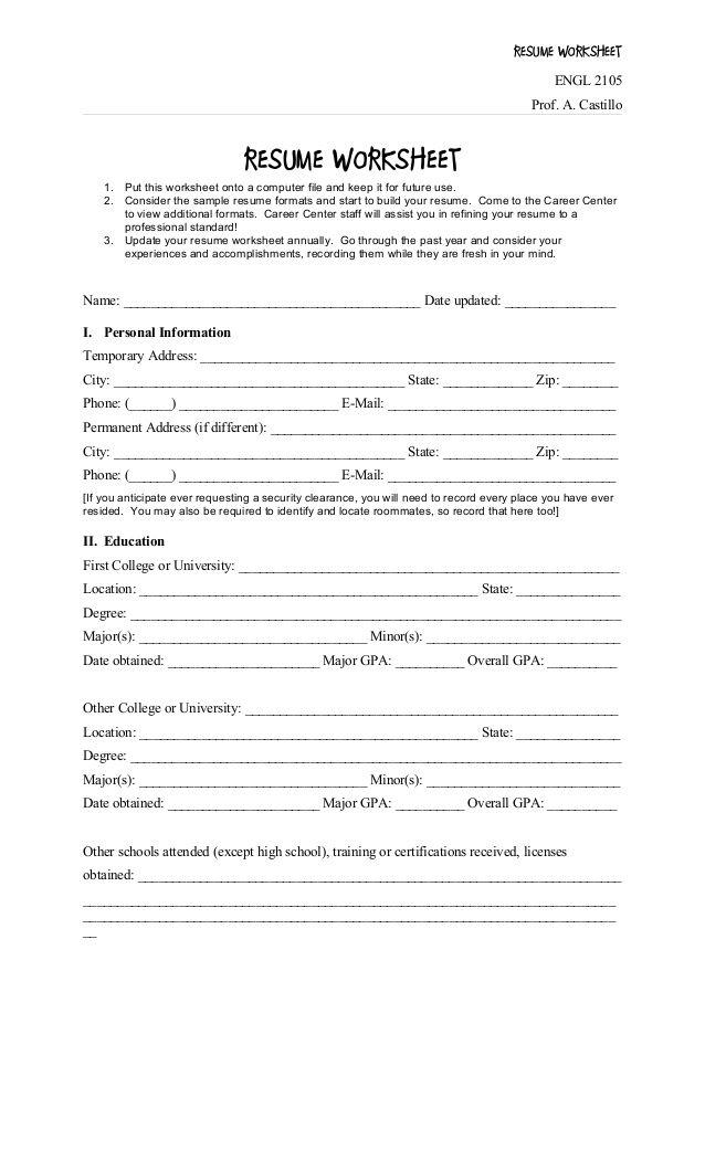 Resume Worksheet Di 2020