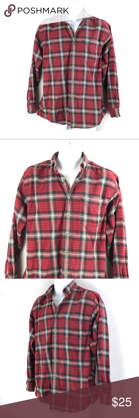 4b28aa0c47c L.L. Bean | Red Plaid Flannel Button Down Shirt L.L. Bean - Men's Plaid  Flannel Button
