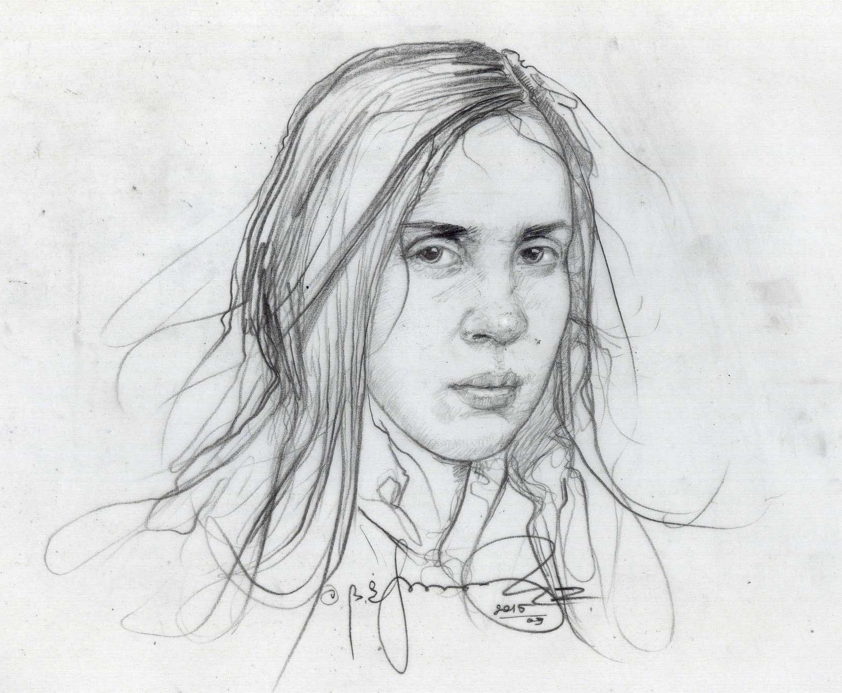 Line Drawing Portrait Artists : Portrait of a young she stranger drawing artist victor