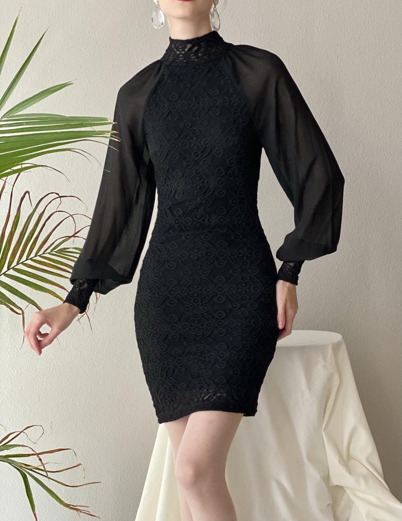 Vintage Black Lace Dress Sheer Poet Sleeve Size S Etsy Vintage Black Lace Dress Black Sheer Dress Sheer Dress [ 1029 x 794 Pixel ]