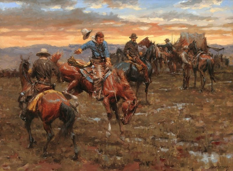 Cowboy Morning Paintings Cowboys Horses Cantankerous Morning 2553x1882 Wallpaper Painting Western Art West Art