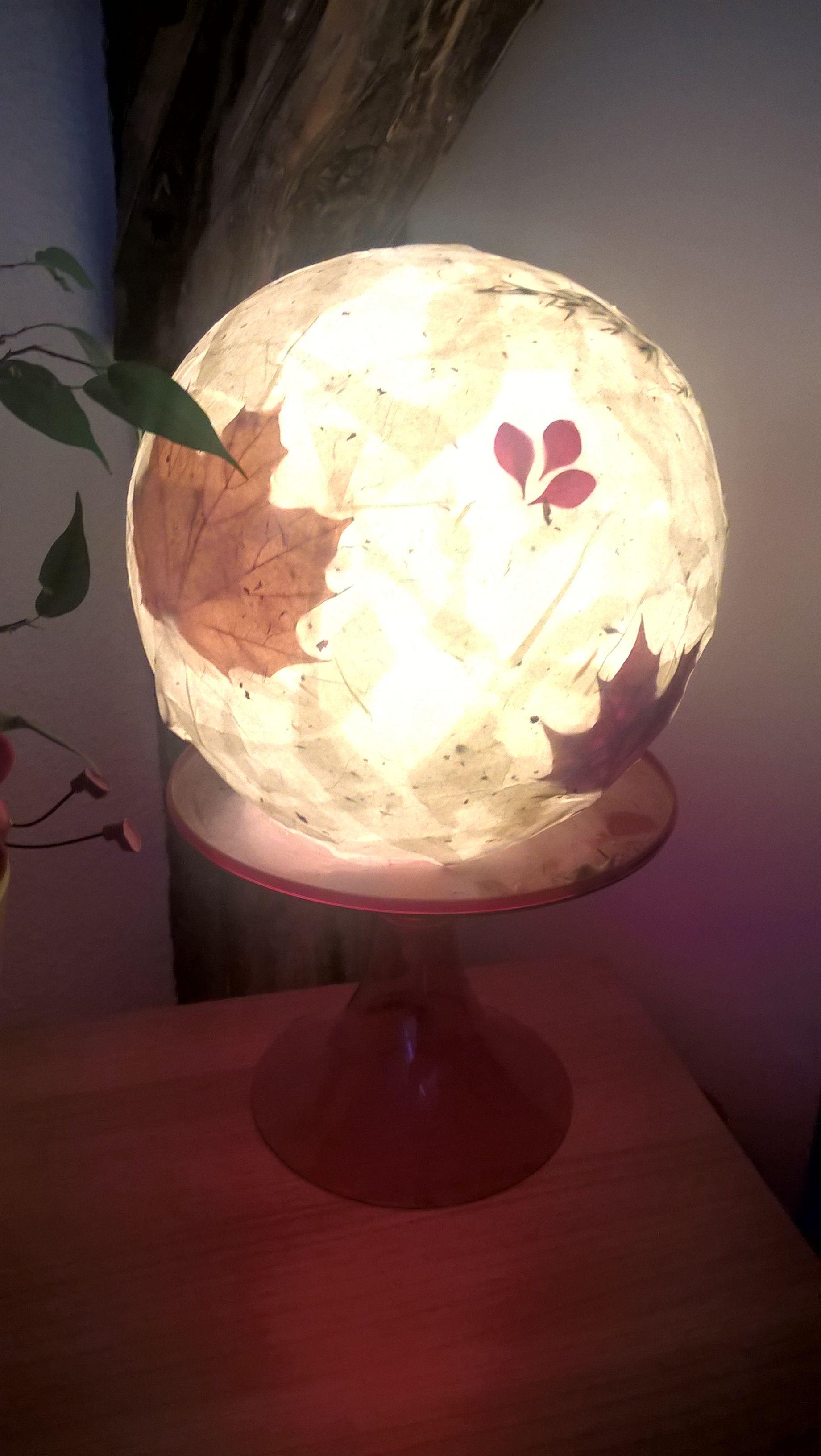 Selbstgebastelter Lampenschirm Luftballon Bastelkleber Seidenpapier Blatter Und Graser Seidenpapier Lampen Selber Machen Lampenschirm