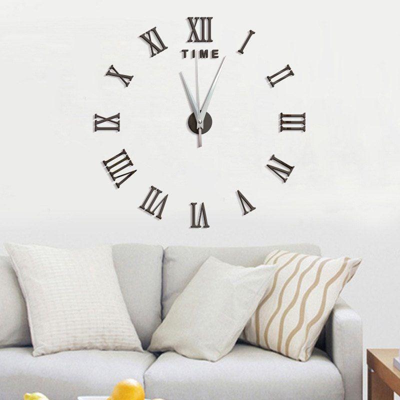 diy roman numerals acrylic mirror wall clock stickers home decor
