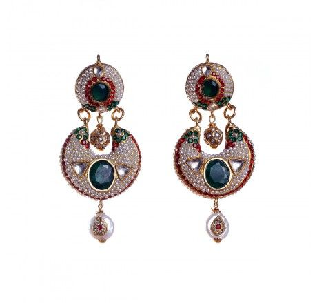 Traditional gold plated gold patra earring with kundan work