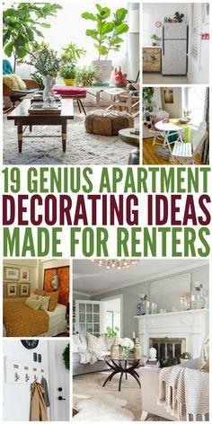19 Genius Apartment Decorating Ideas Made For Renters Diy Home Decor For Apartments Renting Renters Decorating Diy Apartment Decor