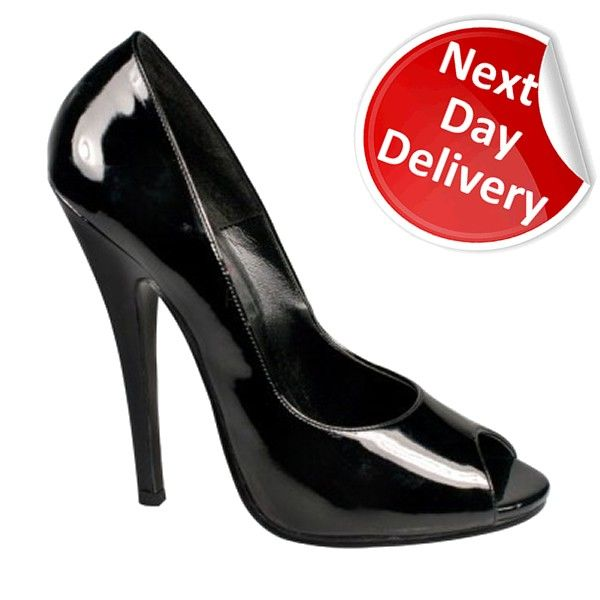 a2c2480f6ee Domina 212 Sexy Black Patent 6 Inch High Heel Peep Toe Court Shoes Retro Pin  Up