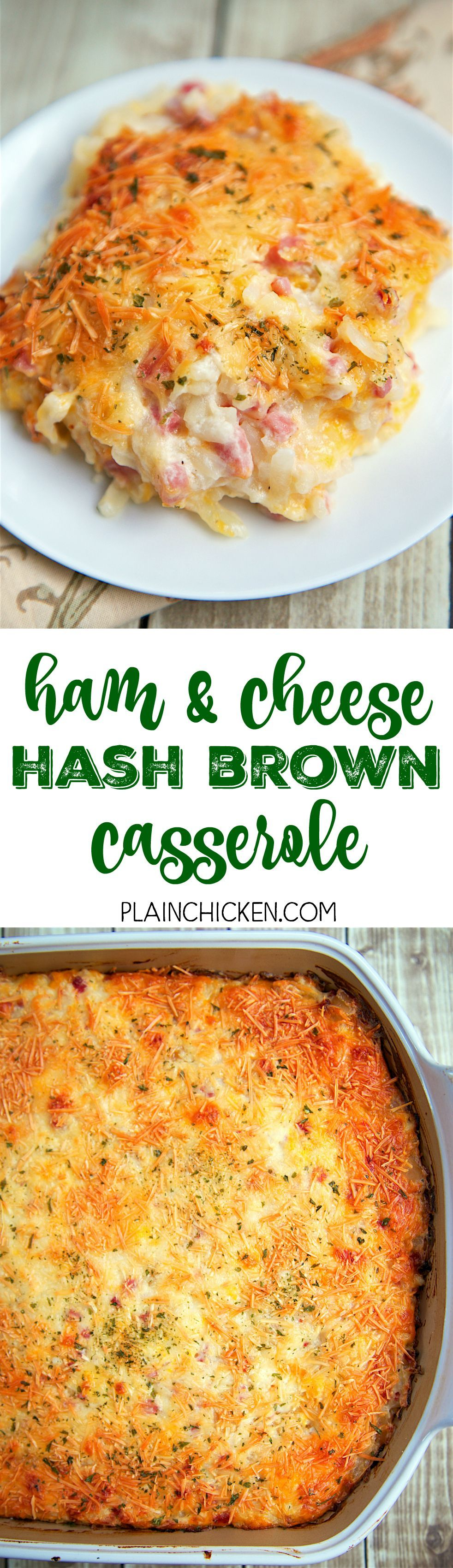 and Cheese Hash Brown Casserole - only 6 ingredients!! Hash browns, ham, parmesan cheese, cheddar cheese, cream of potato soup, and sour cream. YUM! He took one bite and couldn't stop raving out this casserole!! Can make ahead of time and refrigerate or freeze for later. A new favorite in our house!