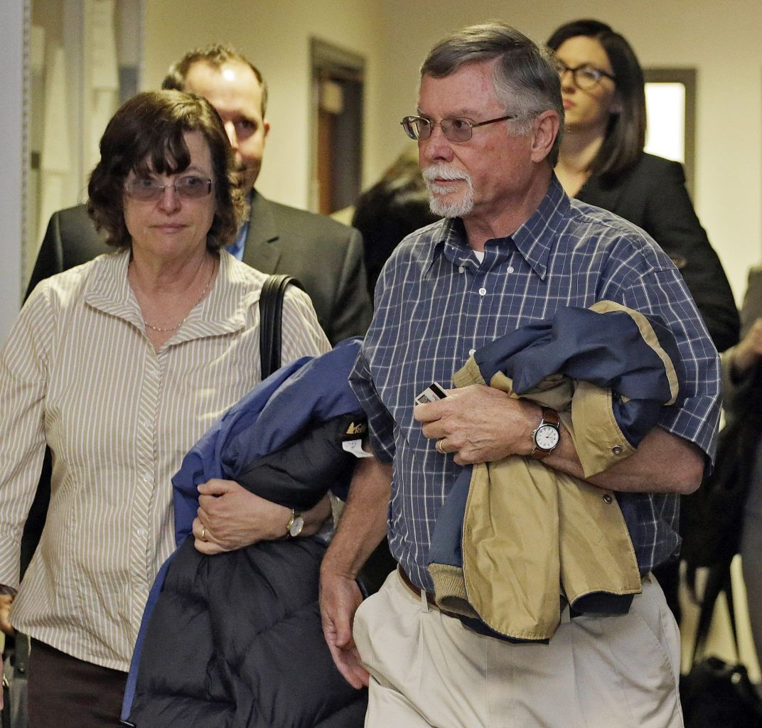 Robert and Arlene Holmes arrive at district court for a hearing in the case of their son, Aurora theater shooting suspect James Holmes, in Centennial, Colo., on Monday, April 1, 2013. The prosecutor announced he will seek the death penalty against Holmes. (AP Photo/Ed Andrieski)  http://news.yahoo.com/photos/robert-arlene-holmes-arrive-district-court-hearing-case-photo-172447018.html