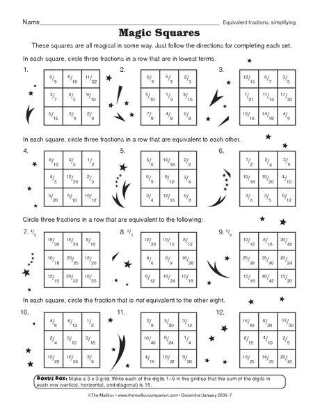 Math Worksheet Equivalent Fractions Simplifying The Mailbox Fracao Matematica Quadrado Magico Fracao