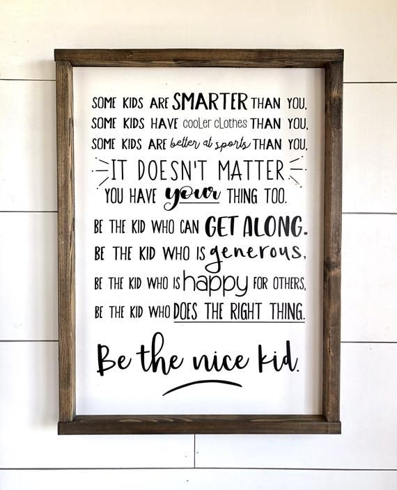 Be The Nice Kid - Teenager- Kids Room - Custom Sign - Hand-Painted Sign - Gallery Wall - Family Sign - Family Rules - Family Motto images