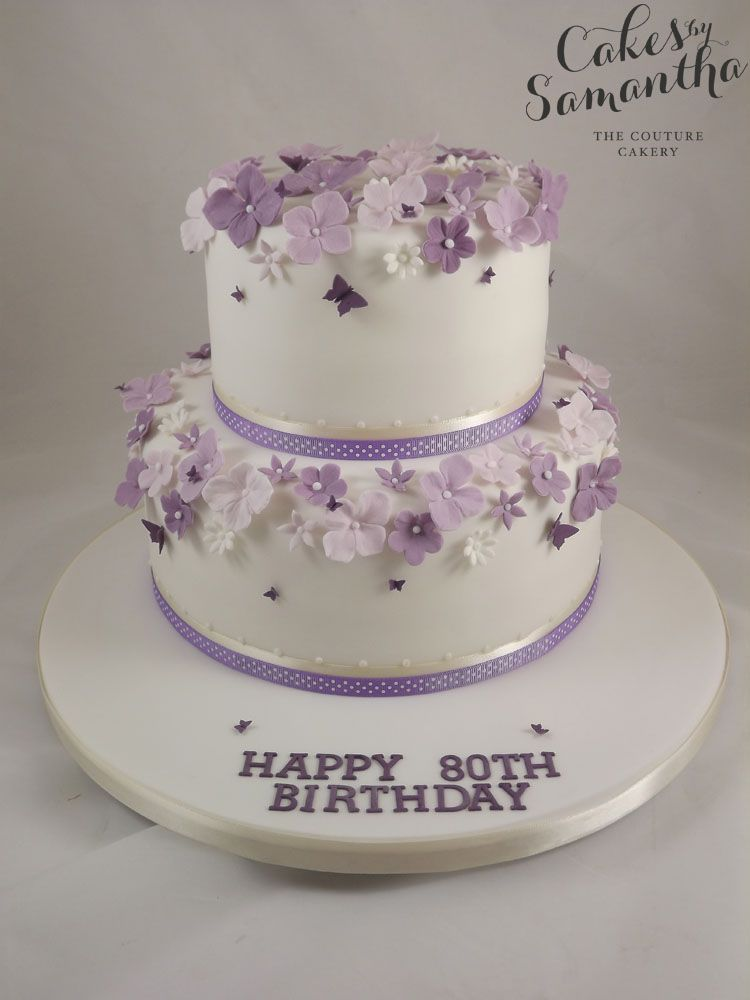 2 Tier Birthday Cake With Purple Flowers 80th Birthday Pinterest