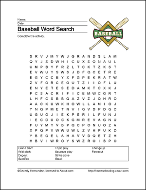 Baseball printables -- worksheets related to the national pastime