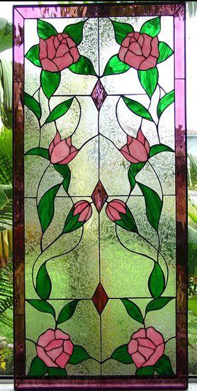 Mirrored Rose Vine Panel 14 X 30