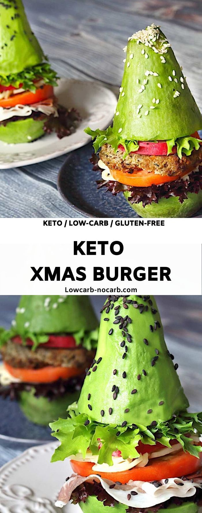 Keto Xmas Tree Burger Decorate Avocados and build a beautiful Keto Xmas Tree Burger for your Breakf