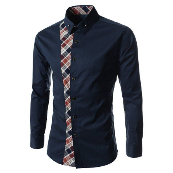 Casual Style Turn-down Collar Colorful Checked Print Personality  Embellished Long Sleeves Men's Shirt,