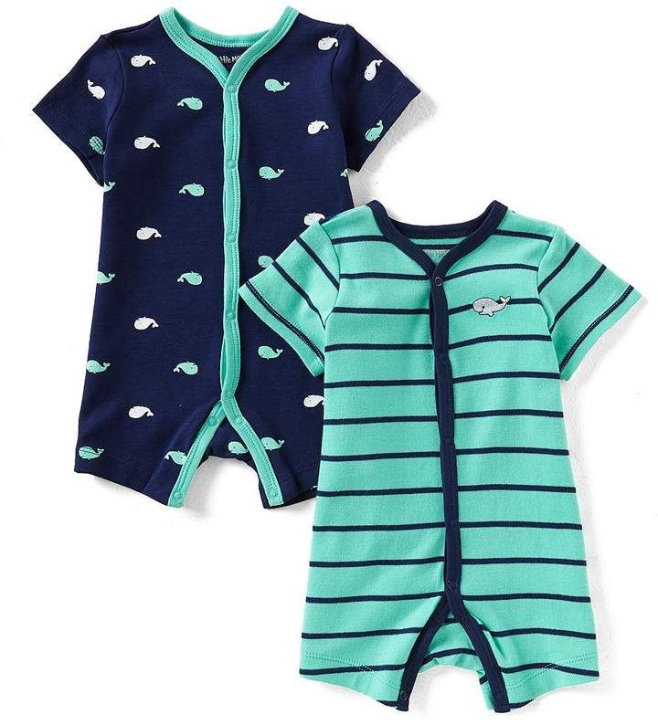 c103662a6818 Little Me Baby Boys 3-12 Months Striped Whale 2-Pack Shortall Set ...